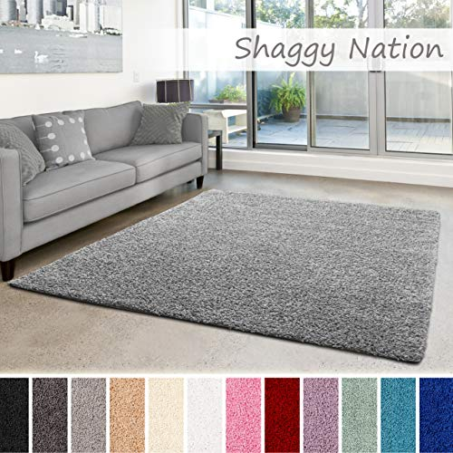 Shaggy-Teppich | Flauschiger Hochflor für Wohnzimmer, Schlafzimmer, Kinderzimmer oder Flur Läufer | einfarbig, schadstoffgeprüft, allergikergeeignet | Grau - 80 x 150 cm