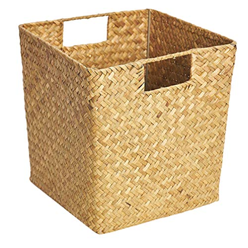 UPKOCH Natural Hyacinth Storage Baskets Woven Seagrass Storage Organizer Basket Bin with Handles Sundries Container Desk Basket Bins for Bathroom Office