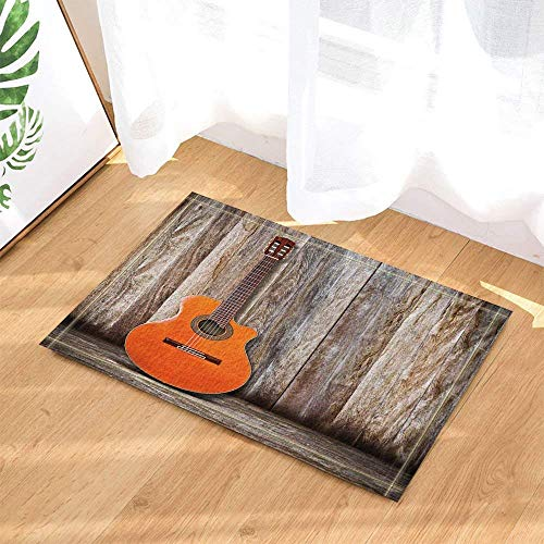 HYTCV Orange Guitar, The Entire Pattern Is Covered with Brown Wood Bathroom mat outdoor indoor non-slip mat