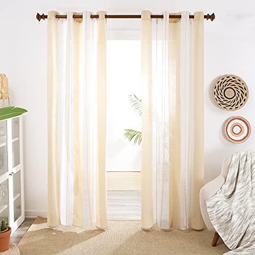 Deconovo Cortinas Salon Modernas, Decorativas de Diseño Rayado, Visillos para Habitación Juventil, con Ojales, 140x240cm(Ancho x Alto), Beige, 2 Piezas