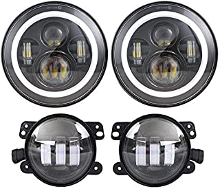 """Dot Approved 7"""" inch Round Jeep Cree Chips LED Headlights with White DRL/Amber Turn Signal + 4 inch LED Fog Lights for Jee..."""