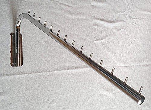 Kleiderstange - Wandhaken schräg rund, Schrägarm, chrom ca. 60 cm lang feststehend