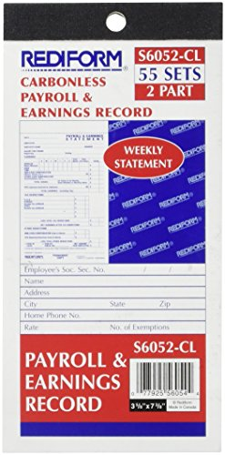 Blueline Rediform Payroll and Earnings Book, Carbonless, 3.625 x 7.375 Inches, 55 Duplicates (S6052CL)