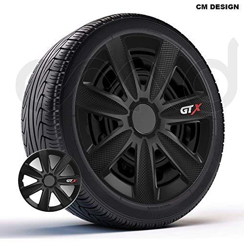 CM DESIGN 4 x 14 Zoll GTX Carbon schwarz Auto-Radkappen Radzierblenden
