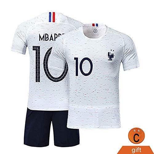 Sport Trikots Boy Football T-Shirt und Kurze France 2 Stars Fußballbekleidung für Kinder Jungs - Weiß