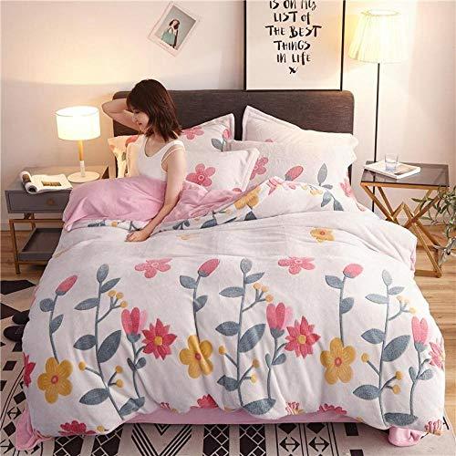 juego de ropa de cama 160x200,Invierno grueso cálido terciopelo impresión tridimensional sábana funda de almohada edredón Navidad familia apartamento hotel kit de cama-K_Cama de 2,0 m (4 piezas)