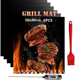 Nifogo Tapis de Cuisson Barbecue 50 x 40 cm avec Thermomètre de Cuisson, Set de 6 Tapis Réutilisable BBQ Grill Mat Antiadh...