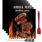 Nifogo Tappetini per Barbecue 50x40cm Set 6 Mats con Termometro da Cucina, Cottura BBQ Riutilizzabile Antiaderente in Teflon Approvati da LFGB & FDA (6PCS)