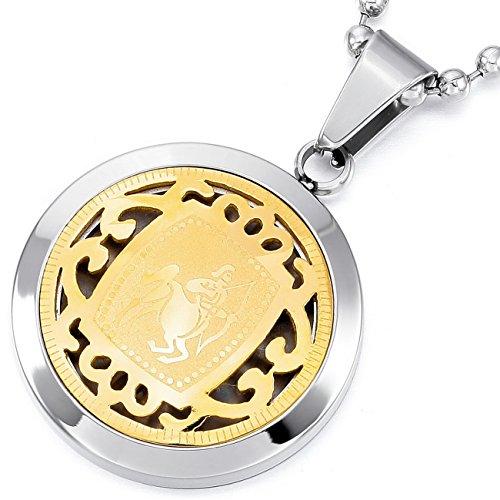 MeMeDIY Plata Oro Dorado Dos Tono Acero Inoxidable Colgante Collar Constelación Horóscopo Zodíaco,Cadena 58cm - Grabado Personalizado