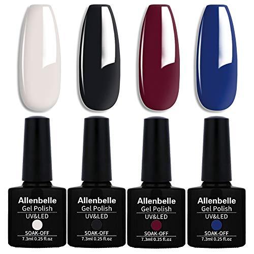 Allenbelle Smalto Semipermanente Nail Polish UV LED Gel Unghie (Kit di 4 pcs 7.3ML/pc) (031)