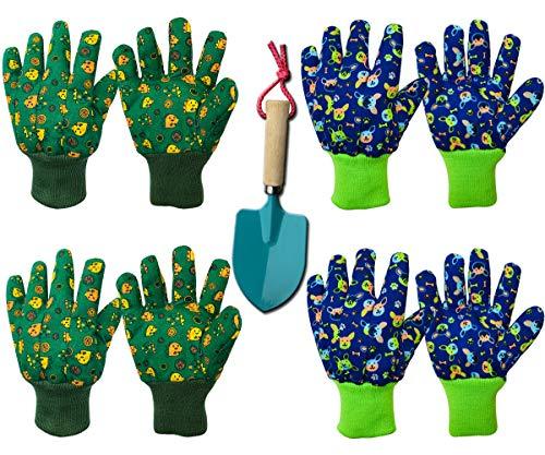 Kinder-Gartenhandschuhe für Gartenarbeit: weiche Arbeitshandschuhe für Kinder im Alter von 5–8 Jahren, Kleinkinder-Handschuhe (klein, blauer Hund und grüner Dinosaurier, 4 Stück)