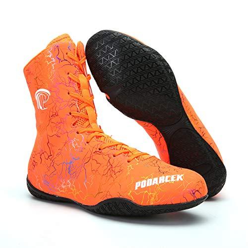 Botas De Boxeo Para Mujer Para Hombre, Zapatillas De Deporte De La Zapatilla De Deporte De Altas Zapatillas De Lucha Luminosa Liviana De Goma Suela Transpirable Zapato De Entrenamiento,Naranja,41