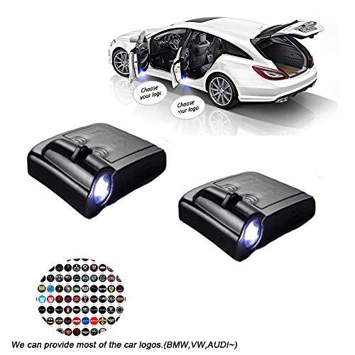 MIVISO 2Pcs Wireless Universal Autoprojektion LED Projektor Tür Schattenlicht Willkommenslicht Laser Emblem Logo Lampen Kit Für Common Car, MINI, ALFA, GMC