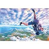 GREAT ART XXL Póster – Paracaidismo – Aventura Mural Decoración Paracaidismo Skydiver Adventure Deporte Extremo Caída de Adrenalina Caída Libre Cartel de la Pared Foto Imagen (140 x 100 cm)