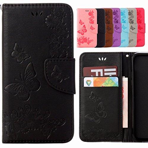 Yiizy Samsung Galaxy A7 (2017) Coque Etui, Papillon Fleur Design Flip PU Cuir Cover Couverture Coquille Portefeuille Housse Média Fente pour Carte Protecteur Skin Poche (Noir)
