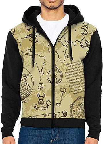 Xiumeimei Vintage World Map Casual Mens Full-Zip Jacke KapuzenZur Seite Fahren Sweatshirt Zur Seite Fahren Hemden with Tasche