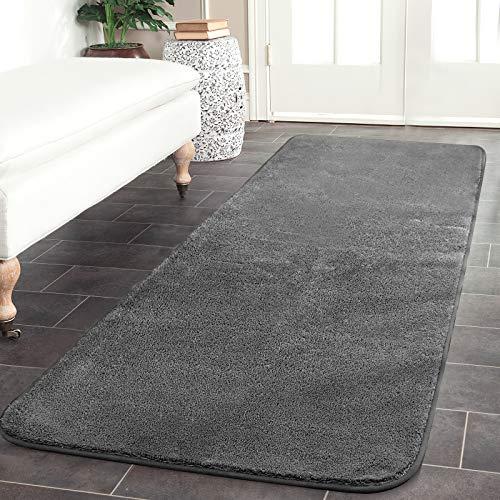 Color&Geometry Teppich Läufer, 40x120cm Weich Teppiche für Schlafzimmer Bettvorleger Esszimmer, Teppiche Wohnzimmer Bodenmatte rutschfeste Unterseite (Dunkelgrau)