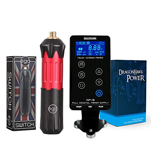 Ego Rotary Tattoo Machine Switch Pen Style Machine RCA Connect With Touch Screen Digital LCD Power Supply