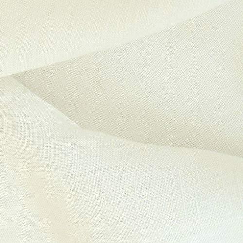 TOLKO 50cm Leinen-Stoff Meterware | blickdichter Naturstoff | für Hose Rock Bluse Kleider Gewänder | fein gewebter Dekostoff für Vorhänge Gardinen und Dekorationen | 140cm breit (Creme-Weiß)