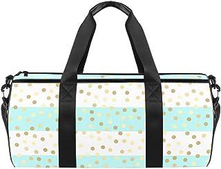 TIZORAX Sporttasche mit goldfarbenen Glitzertropfen auf türkisen und weißen Streifen, Segeltuch, Reisetasche mit wasserdichter Tasche