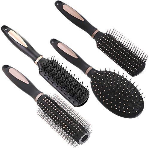 4 Pcs Hair Brush Set Anti Static Massage Oval Comb Round Hair Brush Vent...