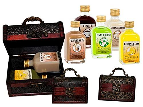 Lote de 7 Packs de 2 Botellas de Licores la Rivera (A Elegir) en Baúles de Madera Clásicos. Regalos Originales. Detalles de Bodas, Bautizos, Comuniones y Eventos. DC (CAFE)