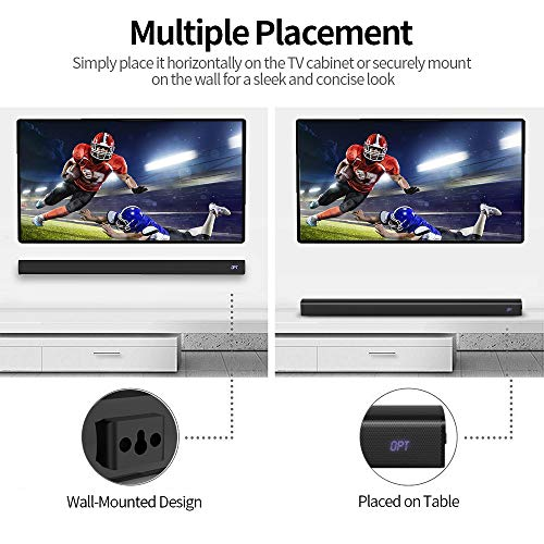 Sound bar for TV, 2.1 Channel 41 Inch TV Soundbar with Built-in Dual Subwoofer, 105 dB, 3D Surround Sound, Strong Bass, Remote, Optical AUX Coaxial Cable Included