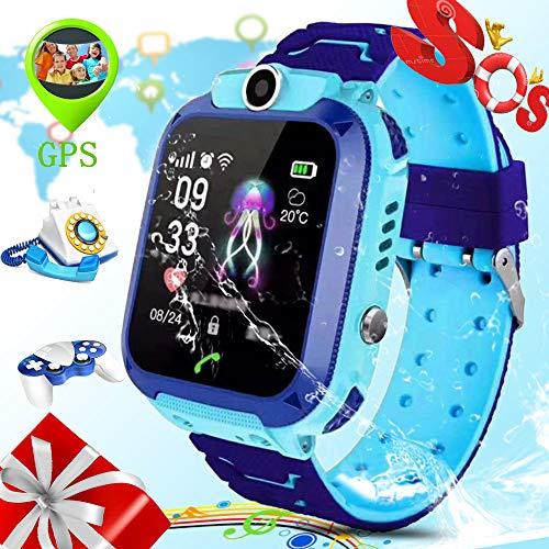 ZEERKEER S12 Kids Smart Watch IP67 Waterproof LBS Tracker Smart Watch for Kids with Two-Way Call SOS Anti-Lost Alarm Touch Screen Camera Games, Best Gift for Girls Boys (Blue)