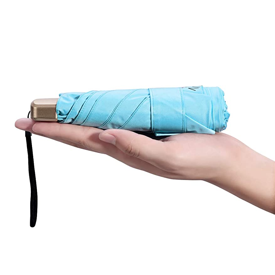 アトミックゴミ箱を空にするマトリックス折り畳み傘 日傘 高強度 6本骨 200g晴雨兼用UVカット 紫外線遮蔽率100% upf50+超軽量 ミニ日傘 母の日 プレゼント (水色)