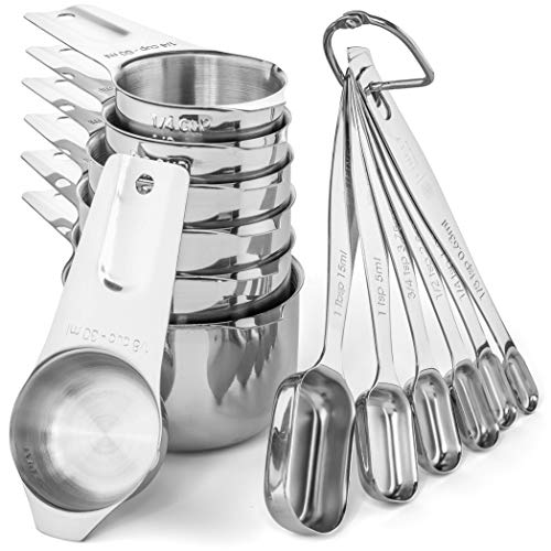 Stainless Steel Measuring Cups and Spoons Set by Finely Polished- 13 Piece Professional Quality Metal Measuring Cups and Metal Measuring Spoons - Measuring Cups Stainless Steel - Measuring Cup Set