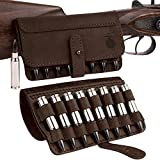 BRONZEDOG Leather Cartridge Case Shell Holder for .30-30 .308 .30-06 Win Mag Belt Ammo Pouch Black Brown Khaki Hunting Accessories (Brown)