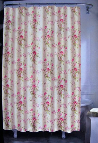 Shabby chic designer shower curtain By Ralph Lauren - pretty Floral 72 X 72 100% Cotton in Pink Green Taupe and White