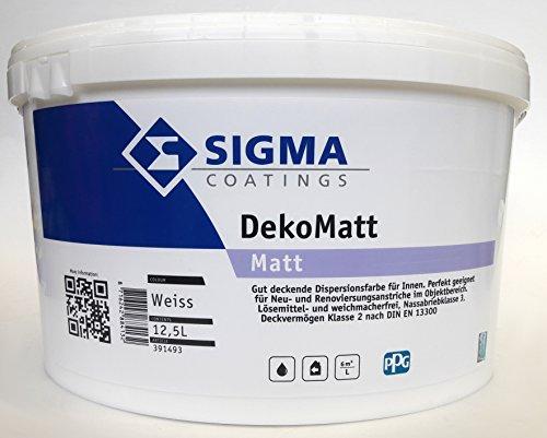 SIGMA Deko Matt weiss, 12,5L - Wirtschaftliche, gut deckende Innenwandfarbe auf allen im Innenbereich üblichen Untergründen.