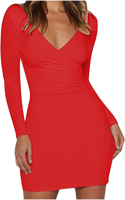Womens Sexy Y2k Club Dress Fashion V-Neck Mini Dresses Solid Color Long Sleeve Party Night Bodycon Dress Clubwear