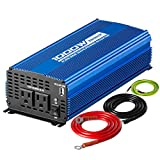 Kinverch 1000W Continuous/2000W Peak Pure Sine Wave Inverter DC 12V to AC 110V Car Power Inverter with Dual AC Outlets & 2A USB Output