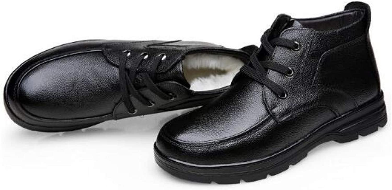 FHCGMX Winter Men Cotton shoes Warm Snow Boots Lace-up Pu Leather Martin Boots Non-slip Wear Resistant Male shoes