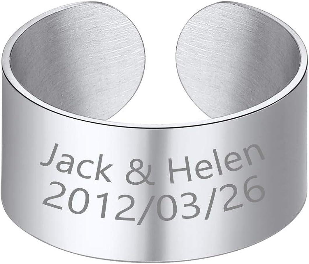 Stainless Steel Open Band Ring for Men Women 18K Gold/Black Plat