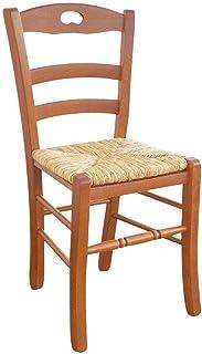 Silla modelo Loris con asiento de paja de arroz en color cerezo