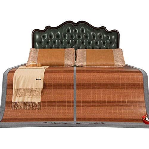 PIVFEDQX Colchón Cooling Topper Colchoneta de Dormir de Verano Plegable de bambú Mate frío Espesor: 6 mm, 2 Fundas de Almohada de ratán (Color: A, Tamaño: 1,5 x 1,95 m (5 pies))