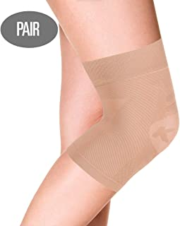 OrthoSleeve KS7 Compression Knee Sleeves (One Pair) for Knee Pain Relief, Aching Knees and Arthritis Relief (Natural, Medium)