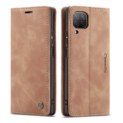 mvced Handyhülle Kompatibel mit Huawei Nova 6SE/P40 Lite 4G/Nova 7i,Premium Leder Flip Hülle Schutzhülle mit Standfunktion,Braun