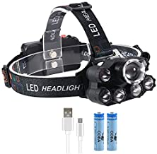 Zcm Koplampen Phare LED T6 lampe frontale étanche uv lumière noire 2 * 18650 batterie en plastique multifonction camping r...