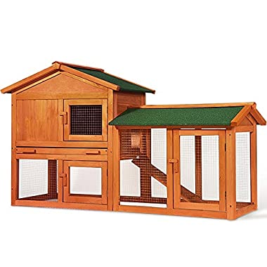 Merax Chicken Coop Rabbit Hutch Wood House Pet Cage for Small Animals (Rabbit Hutch#3)