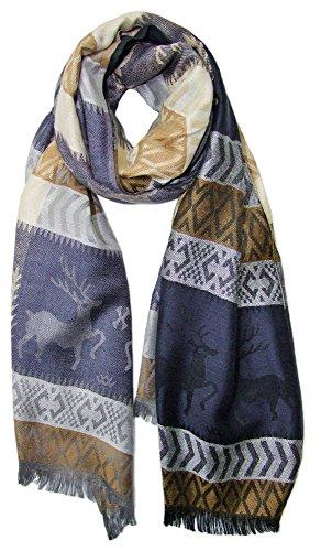 Trachtenland Trachtenland Halstuch Schal mit Hirsch Stickereien - Dunkelblau