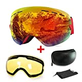 Extra Mile Ski Goggles, Anti-Fog UV Protection Winter Snow Sports Snowboard Goggles with...