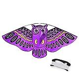 Mayco Bell Dibujos Animados Coloridos búho Volando Cometa con Kite Line Easy Fly Kite con 50M Line Juguetes para niños Niños Regalo Herramienta al Aire Libre (púrpura)