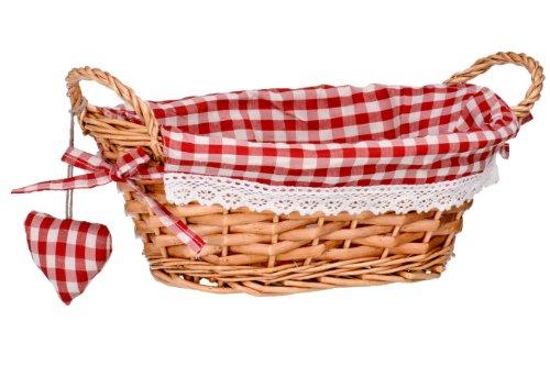 Premier Housewares Picnic Basket Bread Basket Wicker Basket Oval Hamper Baskets For Gifts Lining Woven Basket Red H14x W27x D19