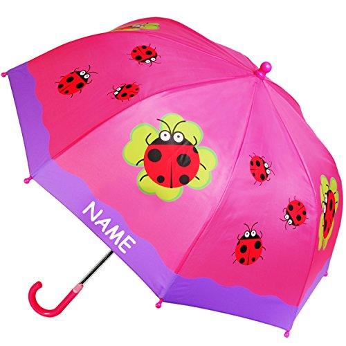 alles-meine.de GmbH Regenschirm -  Marienkäfer & Glückskäfer mit Kleeblatt  - incl. Name - Kinderschirm Ø 72 cm / mit Klemmschutz - Kinder Stockschirm mit Griff - Regenschirme ..