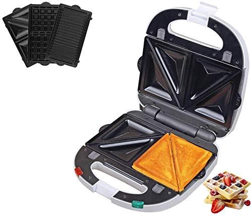 LIANYANG 3 in 1 Sandwich Toaster,Muffin Maker & Grill Toast Maker mit abnehmbaren Antihaft Platten,Edelstahl 700W
