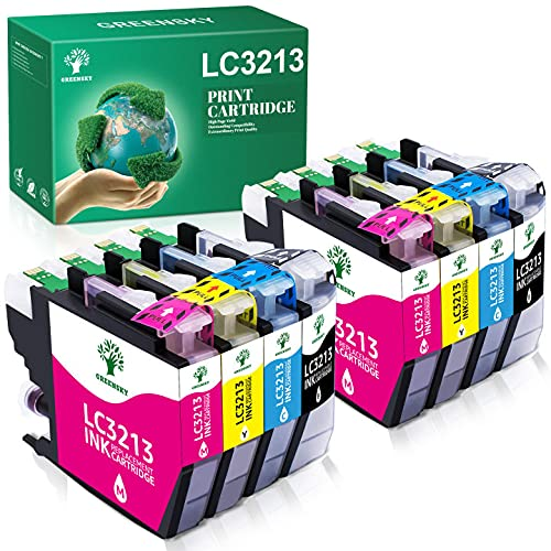 GREENSKY Cartucho de Tinta Compatible de Repuesto para Brother LC3213 LC3211 LC 3213 LC 3211 para Brother MFC-J497DW DCP-J572DW MFC-J890DW MFC-J491DW DCP-J772DW DCP-J774DW MFC-J895DW(8 Paquetes)